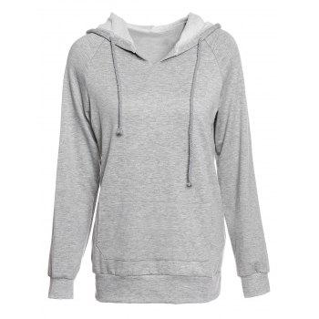 Trendy Hooded Long Sleeve Pocket Design Solid Color Women's Hoodie - GRAY M