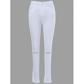 Attractive Solid Color Knee Cut Out Frayed Bodycon Jeans For Women - WHITE M