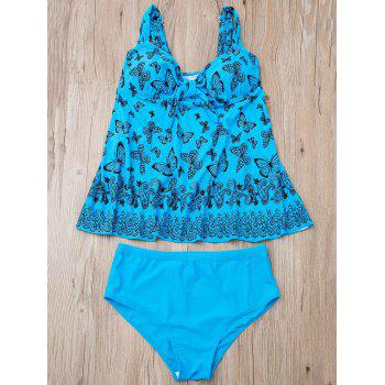 Stylish Butterfly Print Plus Size Two-Piece Women's Swimsuit