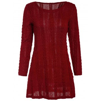 Brief A-Line Scoop Neck Long Sleeve Dress For Women