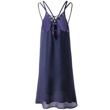 Fashionable Women's Slimming Spaghetti Strap Lace-up Dress - PURPLISH BLUE S