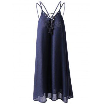 Fashionable Women's Slimming Spaghetti Strap Lace-up Dress