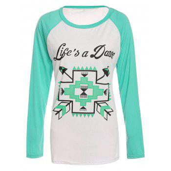 Casual Long Sleeve Round Collar Arrows and Letter Print Women's T-Shirt