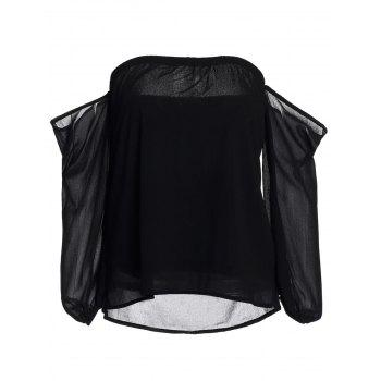 Sexy Off-The-Shoulder Solid Color Long Sleeve Women's Chiffon Blouse - BLACK S