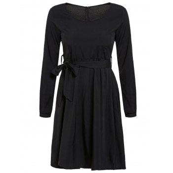 Stylish Jewel Neck 3/4 Sleeve Pocket Design Solid Color Women's Dress