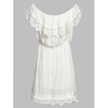 Stylish Women's Off The Shoulder Lace Splicing A-Line Dress - WHITE S