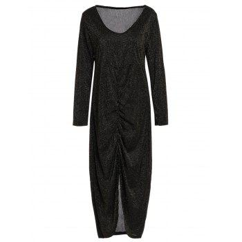Alluring Long Sleeve Bodycon Ruched Women's Dress