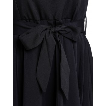 Graceful Long Sleeve Scoop Neck Self Tie Belt Women's Black Dress - BLACK BLACK