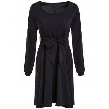 Graceful Long Sleeve Scoop Neck Self Tie Belt Women's Black Dress - BLACK XL