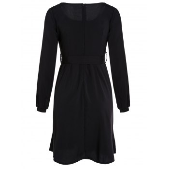 Graceful Long Sleeve Scoop Neck Self Tie Belt Women's Black Dress - XL XL