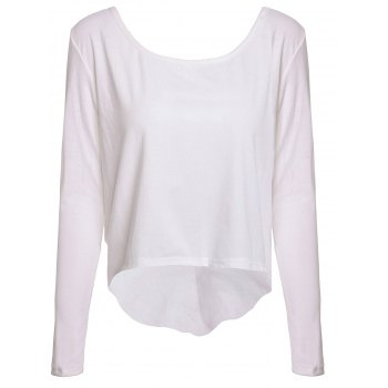 Stylish White Backless Long Sleeve Irregular T-Shirt For Women