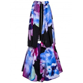 Trendy Floral Print Stand Collar Sleeveless Crop Top and Shorts Twinset For Women - BLACK M