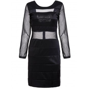 Sexy Scoop Neck Long Sleeve Mesh Splicing Backless Dress For Women