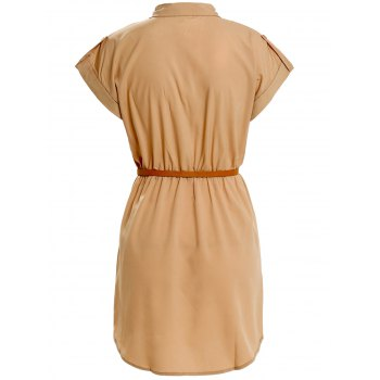Turn Down Collar Short Sleeve Eqaulets Embellished Packet Buttock Dress - KHAKI M