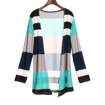 Casual Style Long Sleeve Collarless Colorful Stripe Women's Cardigan
