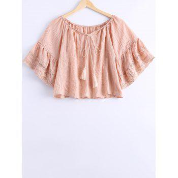 Simple Women's Off The Shoulder Tassel Tie Short Sleeves Blouse