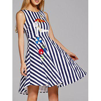 Sleeveless Embroidered A Line Stripe Dress