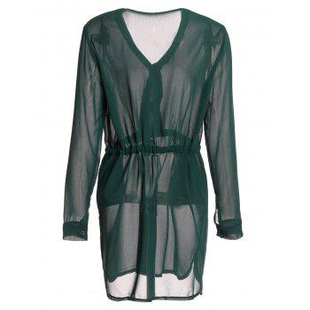 Graceful Long Sleeve Plunging Neck Drawstring Solid Color Women's Dress - BLACKISH GREEN M