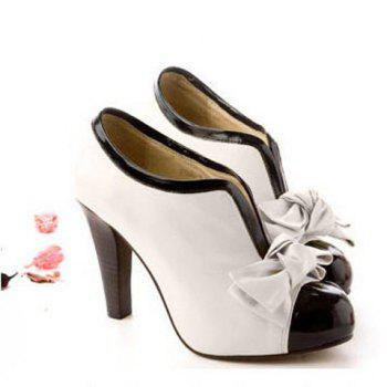 Bowknot Color Block Ankle Boots - OFF WHITE 37
