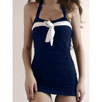 Skirted Halter Neck One Piece Swimsuit