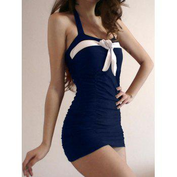 Skirted Halter Neck One Piece Swimsuit - M M