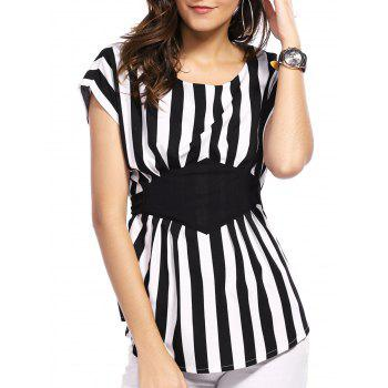 Fashionable Women's Scoop Neck Dolman Sleeve Striped Blouse