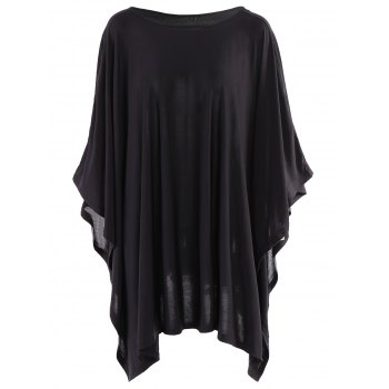 Simple Style Solid Color 3/4 Batwing Sleeve Pleated Blouse For Women - BLACK BLACK