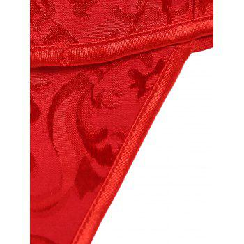 Sexy Strapless Jacquard Lace-Up Women's Corset - RED 3XL