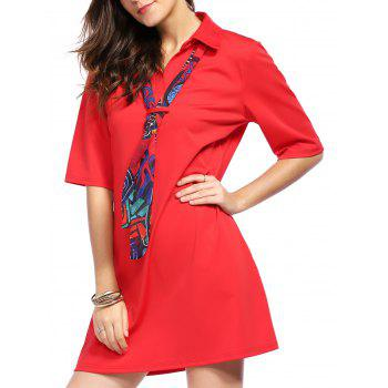 Stylish Women's Short Sleeve Shirt Dress with Scarf