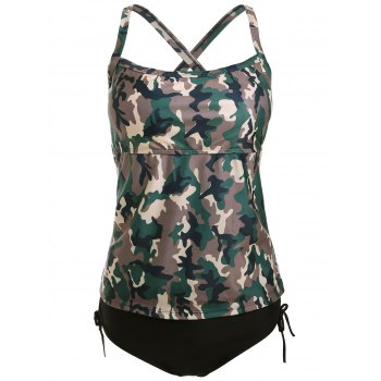 Camo Cross Back Tankini Set