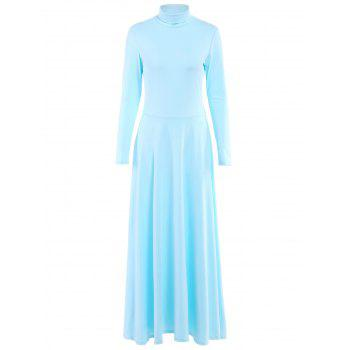 Chic Long Sleeve Turtleneck Pure Color Women's Maxi Dress