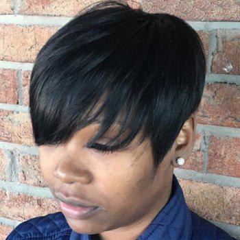 Women's Synthetic Fluffy Short Layered Cut Wigs - BLACK