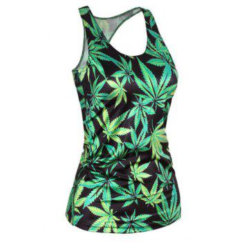 Stylish Scoop Neck Slimming Leaf Print Tank Top For Women
