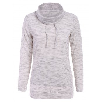 Stylish Cowl Neck Long Sleeve Drawstring Pocket Design Women's Hoodie