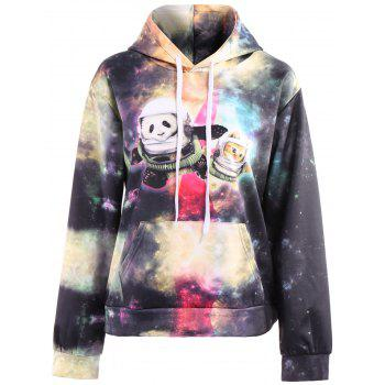 3D Colorful Funny Space Cat Print Front Pocket Drawstring Hooded Long Sleeves Men's Loose Fit Hoodie