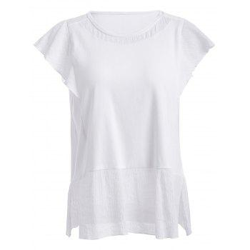 Round Neck Spliced Furcal Solid Color Women s T Shirt