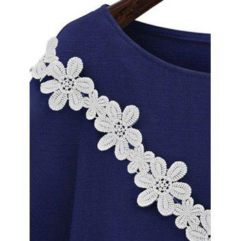 Sweet Jewel Neck Trumpet Sleeve Applique Women's T-Shirt - DEEP BLUE 4XL