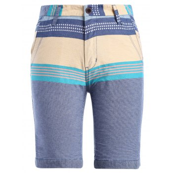 Color Block Stripe Print Spliced Zipper Fly Straight Leg Men's Shorts