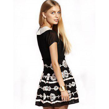 Cute Peter Pan Collar Puff Sleeve Mini Dress For Women - BLACK XL