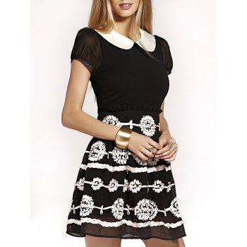 Cute Peter Pan Collar Puff Sleeve Mini Dress For Women