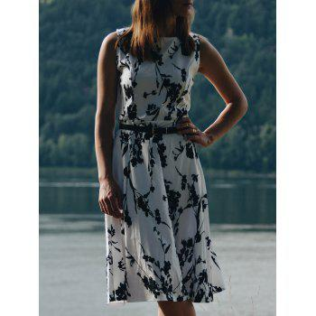 Fashionable Sleeveless Round Collar Slimming Floral Print Women's Dress