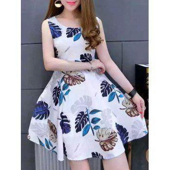 Stylish Women's Sleeveless Scoop Neck Leaf Print Dress