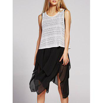 Sleeveless Handkerchief Chiffon Dress and Tank Top Womens Twinset