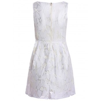 Sleeveless Ladylike Style Round Collar Jacquard Solid Color Lace Pleated Women's Dress - WHITE M