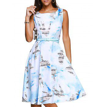 Sleeveless Note Bird Print Brief Belted Women's Dress