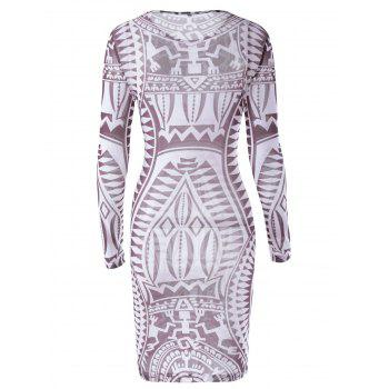 Fashionable Long Sleeves Printing Dress For Women - CHOCOLATE L