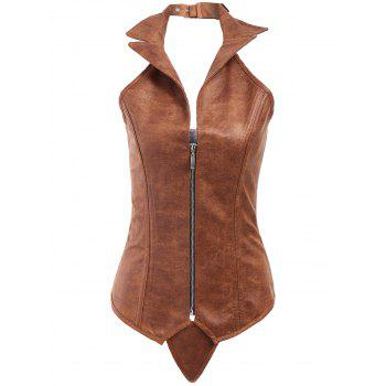 Sexy PU Leather Turn-Down Collar Corset For Women