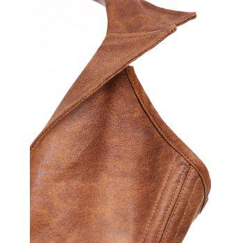 Sexy PU Leather Turn-Down Collar Corset For Women - KHAKI KHAKI