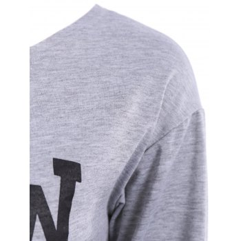 Simple Style Long Sleeve Letter Printed Pullover Sweatshirt For Women - GRAY M