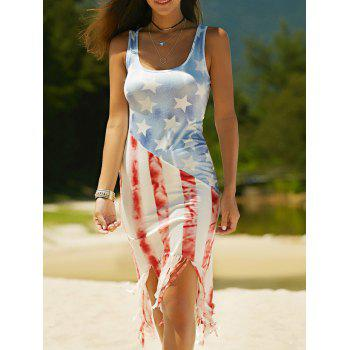 Fringed U-Neck American Flag Print Women's Dress